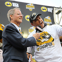 ORLANDO, FL - JANUARY 01:  Head coach Gary Pinkel of the Missouri Tigers speaks on the podium after winning the Buffalo Wild Wings Citrus Bowl between the Minnesota Golden Gophers and the Missouri Tigers at the Florida Citrus Bowl on January 1, 2015 in Orlando, Florida. (Photo by Alex Menendez/Getty Images) *** Local Caption *** Gary Pinkel