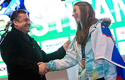 Mayor of Ljubljana Zoran Jankovic and Slovenian 2-times silver medalist alpine skier Tina Maze at reception at Preseren's square when she came from Vancouver after Winter Olympic games 2010, on February 28, 2010 in Center of Ljubljana, Slovenia. (Photo by Vid Ponikvar / Sportida)