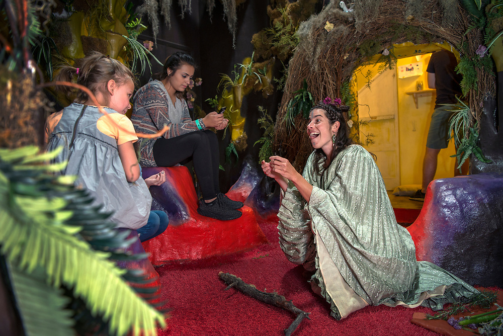 em053117f/jnorth/Amy Glasser, right, as Tula Rosa, performs with plants that is part of Meow Wolf's Summer in the Multiverse at the House of Eternal Return in Santa Fe Wednesday May 31, 2017.  (Eddie Moore/Albuquerque Journal