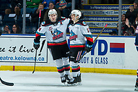 KELOWNA, BC - FEBRUARY 12: Kyle Topping #24 and Pavel Novak #11 of the Kelowna Rockets celebrate a second period goal against the Tri-City Americans at Prospera Place on February 8, 2020 in Kelowna, Canada. (Photo by Marissa Baecker/Shoot the Breeze)