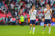 Mason Mount of England and Declan Rice of England applaud the home fans after the UEFA European 2020 Qualifier match between England and Bulgaria at Wembley Stadium, London, England on 7 September 2019.