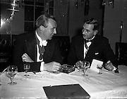22/10/1957<br /> 10/22/1957<br /> 22 October 1957<br /> Dublin Chamber of Commerce Dinner at the Gresham Hotel, Dublin.<br /> Left B.J. Matthews, President of Corporation of Insurance Brokers.