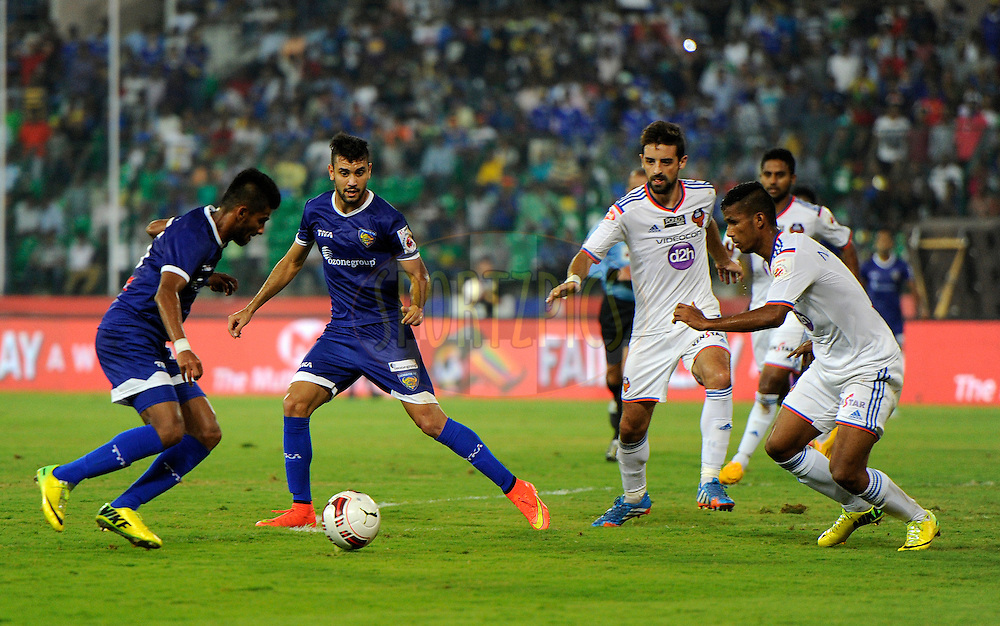 Bruno Augusto Pelissari de Lima of Chennaiyin FC during match 50 of the Hero Indian Super League between Chennaiyin FC and FC Goa held at the Jawaharlal Nehru Stadium, Chennai, India on the 5th December 2014.<br /> <br /> Photo by:  Pal Pillai/ ISL/ SPORTZPICS