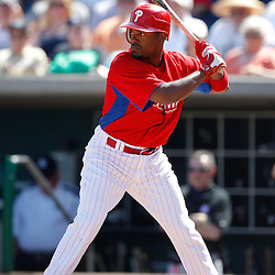 February 27, 2011; Clearwater, FL, USA; Philadelphia Phillies shortstop Jimmy Rollins (11) during a spring training exhibition game against the New York Yankees at  Bright House Networks Field. Mandatory Credit: Derick E. Hingle