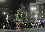 Newburgh, New York  - People gather for the Christmas tree lighting ceremony on Broadway on the night of Dec. 14, 2011.