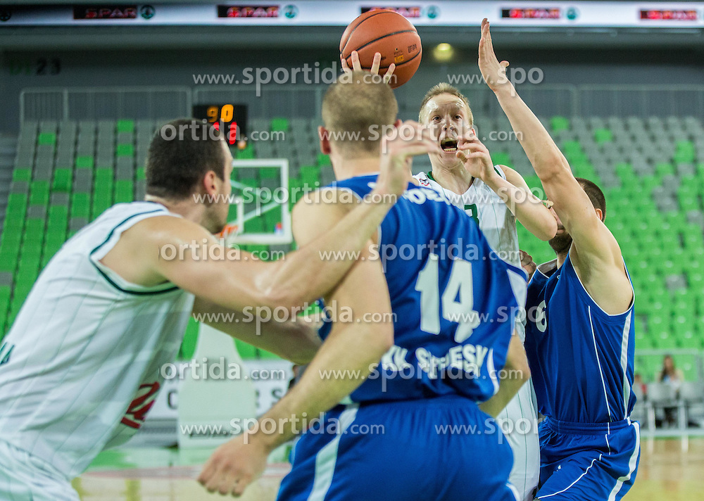Miha Lapornik #13 of KK Union Olimpija during basketball match between KK Union Olimpija Ljubljana and KK Sutjeska Niksic in Round #3 of ABA League 2015/16, on October 7, 2015 in Arena Stozice, Ljubljana, Slovenia. Photo by Vid Ponikvar / Sportida