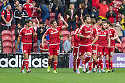 Stewart Downing (Middlesbrough FC) celebrates with team mates after scoring the first goal during the Sky Bet Championship match between Middlesbrough and Milton Keynes Dons at the Riverside Stadium, Middlesbrough, England on 12 September 2015. Photo by George Ledger.
