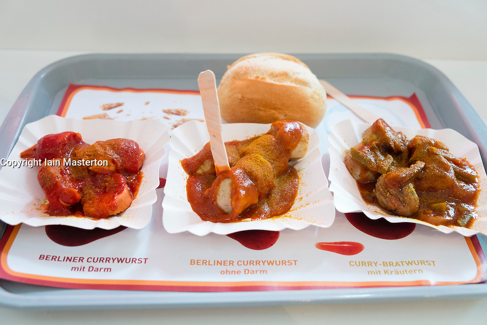 Tasting sample menu at Currywurst museum in Berlin Germany