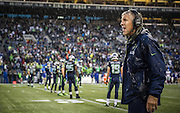 Seattle Seahawks head coach Pete Carroll watches a replay on the jumbo screen during a downpour against the New York Giants at CenturyLink Field. Photo by John Lill