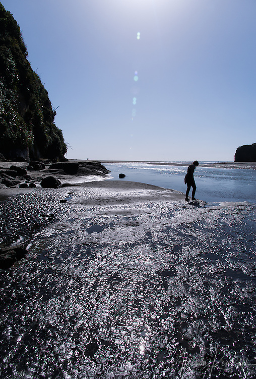 The incredible geology of Tongaporutu Beach in the Taranaki Region of New Zealand includes purple sand, boulders eroded into spheres, and large pillars of rock.