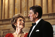 President Ronald Reagan and First Lady Nancy Reagan at a dinner in Washington where President Reagan endorses Vice President George HW Bush for president...Photograph by Dennis Brack bb24