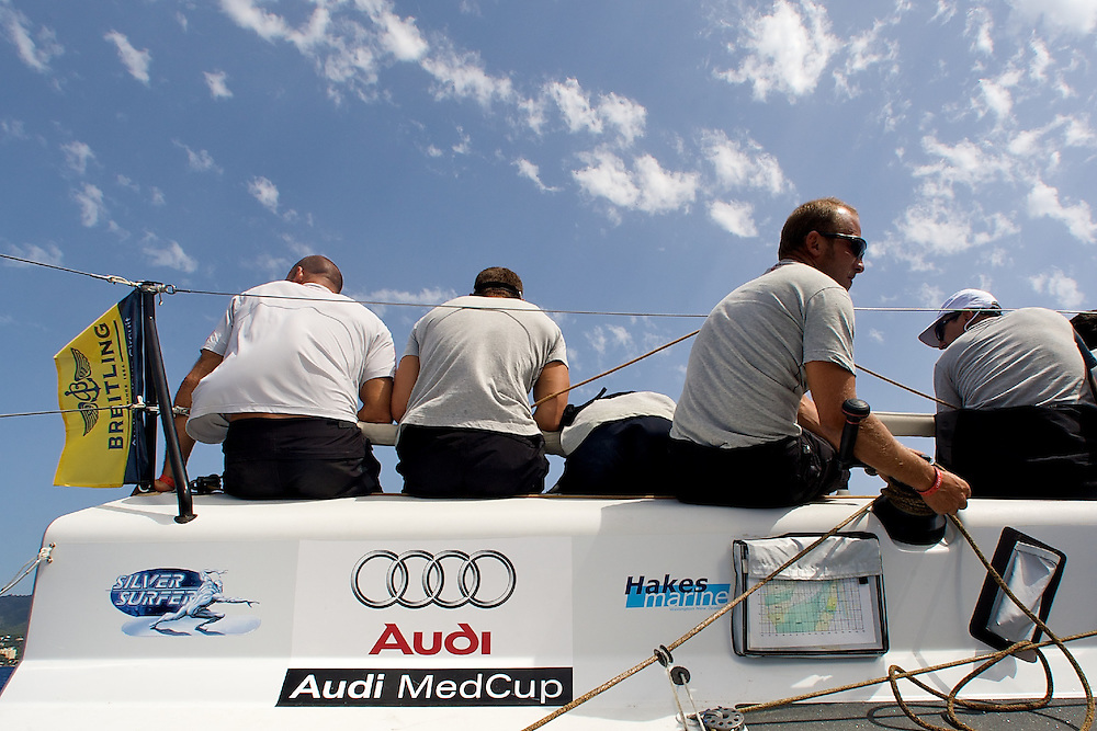 Onboard Audi TP52 Powered by Q8 during the practice race of the AUDI Medcup 14th Breitling Regatta in Puerto Portals