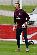 England goalkeeper Jack Butland takes his turn in the goal during the England Training Session at St George's Park National Football Centre, Burton-Upon-Trent, United Kingdom on 7 October 2015. Photo by Aaron Lupton.