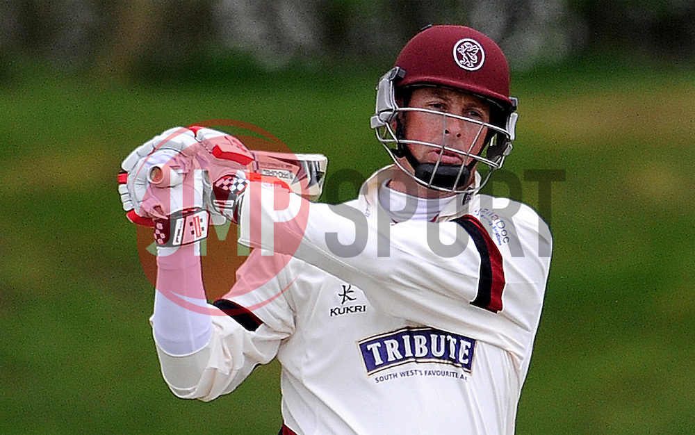 Somerset's Marcus Trescothick hits the ball of the bowling of Durham MCCU's Will Jenkins- Photo mandatory by-line: Harry Trump/JMP - Mobile: 07966 386802 - 02/04/15 - SPORT - CRICKET - Pre Season Fixture - Day One - Somerset v Durham MCCU - Taunton Vale Cricket Ground, Somerset, England.