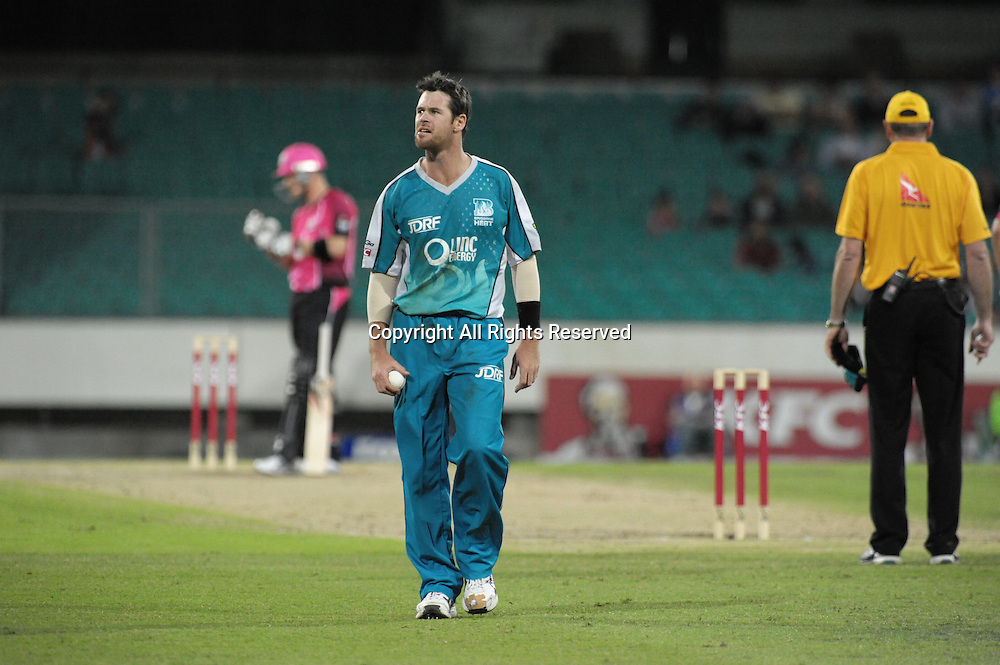 16.12.2011 Sydney, Australia.Brisbane Heat all rounder Daniel Christian wonders what he has to do to get Sydney Sixers wicket keeper Brad Haddin out during the KFC T20 Big Bash League game between Sydney Sixers and Brisbane Heat at the Sydney Cricket Ground.