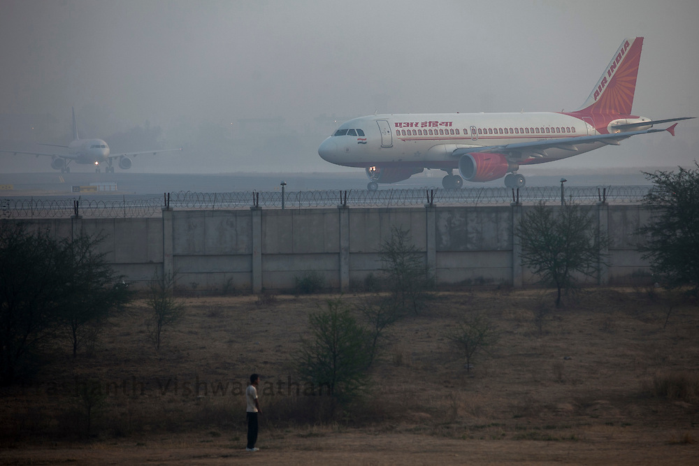 An Air India flight prepares to take off at the Indira gandhi International Airport, in New Delhi, India, on Thursday March 15, 2012. Photographer: Prashanth Vishwanathan