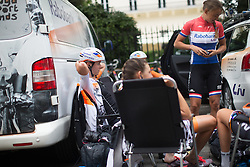 Thalita de Jong (NED) adjusts her aero helmet before the start of the Prudential RideLondon Classique, a 66 km road race in London on July 30, 2016 in the United Kingdom.