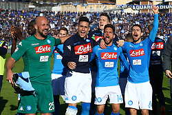 January 21, 2018 - Bergamo, Italy - Pepe Reina, Jose Maria Callejon, Dries Mertens and Jorginho of Napoli celebrate the victory at the end of the serie A match between Atalanta BC and SSC Napoli at Stadio Atleti Azzurri d'Italia on January 21, 2018 in Bergamo, Italy. (Credit Image: © Matteo Ciambelli/NurPhoto via ZUMA Press)