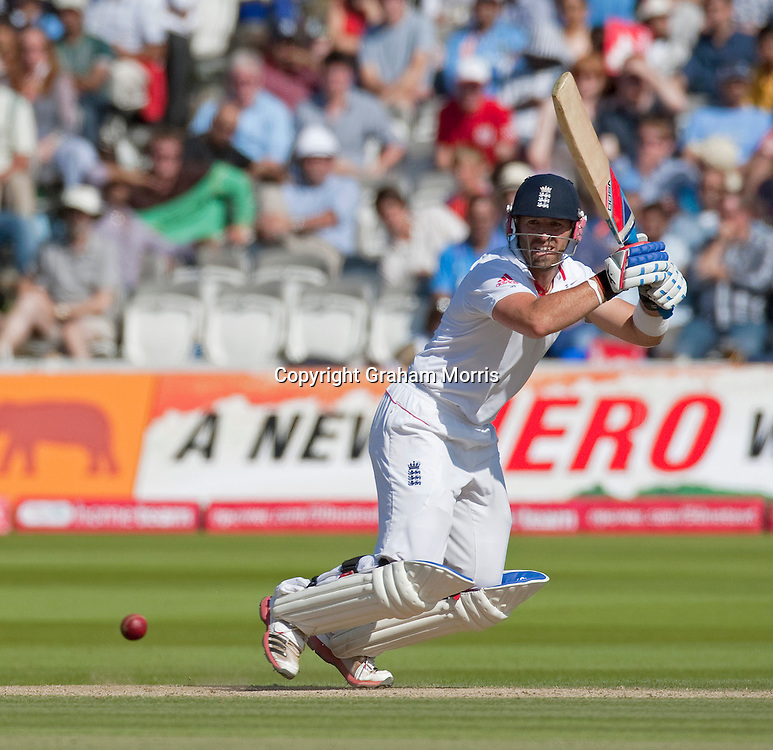 Matt Prior bats during his century in the first npower Test Match between England and India at Lord's Cricket Ground, London.  Photo: Graham Morris (Tel: +44(0)20 8969 4192 Email: sales@cricketpix.com) 24/07/11