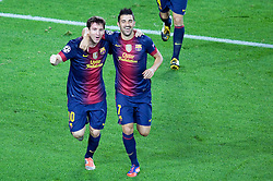 Lionel Messi celebrates scoring the winning goal with David Villa during the Group G UEFA Champions League match between FC Barcelona and Spartak Moscow at the Nou Camp, Barcelona, Spain 19th September 2012. Credit - Eoin Mundow/Cleva Media