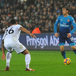 Nacho Monreal of Arsenal runs with the ball during Swansea City vs Arsenal, Premier League, 30.01.18 (c) Harriet Lander | SportPix.org.uk