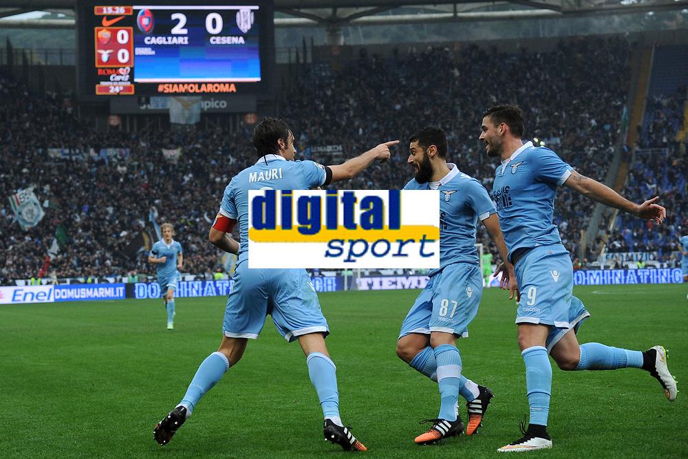 Esultanza Gol Stefano Mauri Lazio Goal celebration 0-1 <br /> Roma 11-01-2015 Stadio Olimpico, Football Calcio Serie A AS Roma - Lazio . Foto Andrea Staccioli / Insidefoto