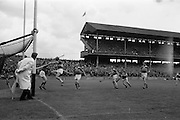 16/05/1965<br /> 05/16/1965<br /> 16 May 1965<br /> National Hurling League Final: Kerry v Laois at Croke Park, Dublin.<br /> Laois forward, J. Conroy, saves the goal at point blank range, but received a knock on the head from Kerry goalie, T. McElligott.