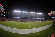 The stadium lights illuminate the field in this wide angle photograph taken from field level during the San Francisco 49ers NFL week 10 regular season football game against the New York Giants on Monday, Nov. 12, 2018 in Santa Clara, Calif. The Giants won the game 27-23. (©Paul Anthony Spinelli)