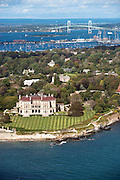The Breakers, Ocean Drive Newport mansion aerial photo.