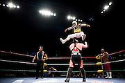 Lucha Libre AAA wrestler Mascarita Sagrada leaps onto Abismo Negroat a match in Sacramento, CA March 28, 2009.