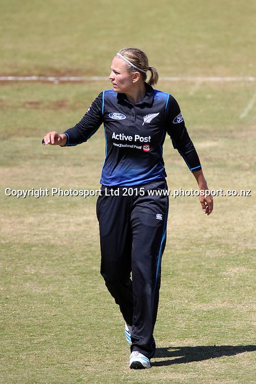 Lea Tahuhu of the White Ferns. New Zealand White Ferns v England - 3rd ODI at Bay Oval, Mount Maunganui, New Zealand. 15 February 2015. Photo credit: Margot Butcher/www.photosport.co.nz