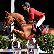 04.08.2018 The Longines Global Champions Tour Show jumping at The Royal Hospital Chelsea London UK Global Champions League of London for teams CS15 Competition in 2 phases and 2nd GCL Competition for Teams Ben Mather GBR riding Explosion  for  competition leaders Team London Knights