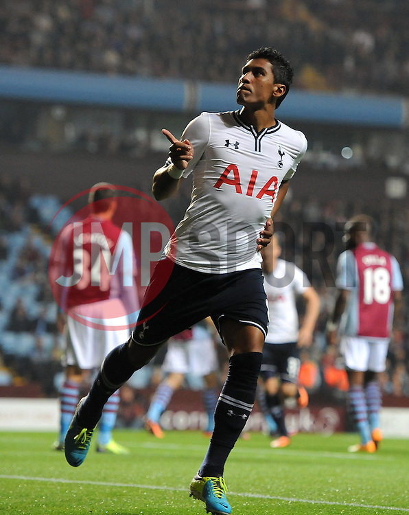 Tottenham Hotspur's Paulinho celebrates - Photo mandatory by-line: Joe Meredith/JMP - Tel: Mobile: 07966 386802 24/09/2013 - SPORT - FOOTBALL - Villa Park - Birmingham - Aston Villa V Tottenham Hotspur - Capital One Cup