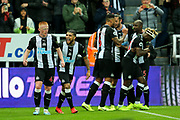 Matthew Longstaff (#43) of Newcastle United celebrates Newcastle United's first goal (1-0) with DeAndre Yedlin (#22) of Newcastle United during the Premier League match between Newcastle United and Manchester United at St. James's Park, Newcastle, England on 6 October 2019.