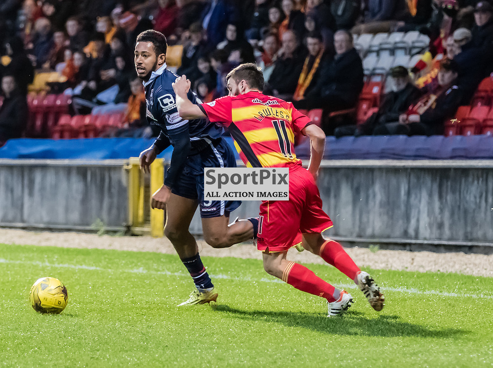Partick Thistle's Steven Lawless tackle on Ross County's Jamie Reckord resulted in him being booked during the Partick Thistle FC V Ross County FC Ladbrokes Scottish Premiership game played at Firhill Stadium, Glasgow on 19th December 2015; (c) BERNIE CLARK | SportPix.org.uk