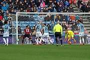 Callum Wilson of Bournemouth goal mouth action just outside during the Premier League match between Huddersfield Town and Bournemouth at the John Smiths Stadium, Huddersfield, England on 9 March 2019.