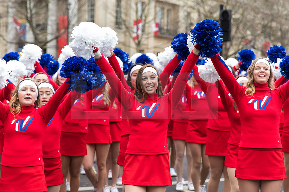 © Licensed to London News Pictures. 01/01/2018. London, UK. Cheerleaders at the New Year's Day Parade in Central London. Photo credit: Rob Pinney/LNP