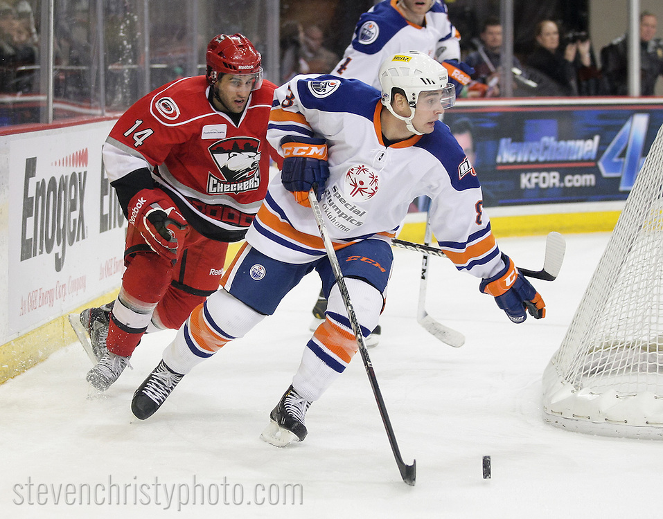 February 1, 2013: The Oklahoma City Barons play the Charlotte Checkers in an American Hockey League game at the Cox Convention Center in Oklahoma City.