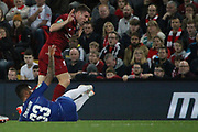 7 James Milner for Liverpool FC is booked for his challenge on 33 Emerson for Chelsea FC during the EFL Cup match between Liverpool and Chelsea at Anfield, Liverpool, England on 26 September 2018.