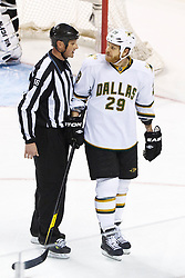 Mar 31, 2012; San Jose, CA, USA; Dallas Stars center Steve Ott (29) is escorted off the ice by NHL linesman Darren Gibbs (66) after receiving a game misconduct penalty against the San Jose Sharks during the third period at HP Pavilion. San Jose defeated Dallas 3-0. Mandatory Credit: Jason O. Watson-US PRESSWIRE