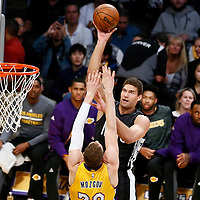 15 November 2016: Brooklyn Nets center Brook Lopez (11) goes for the baby hook over Los Angeles Lakers center Timofey Mozgov (20) during the LA Lakers 125-118 victory over the Brooklyn Nets, at the Staples Center, Los Angeles, California, USA.