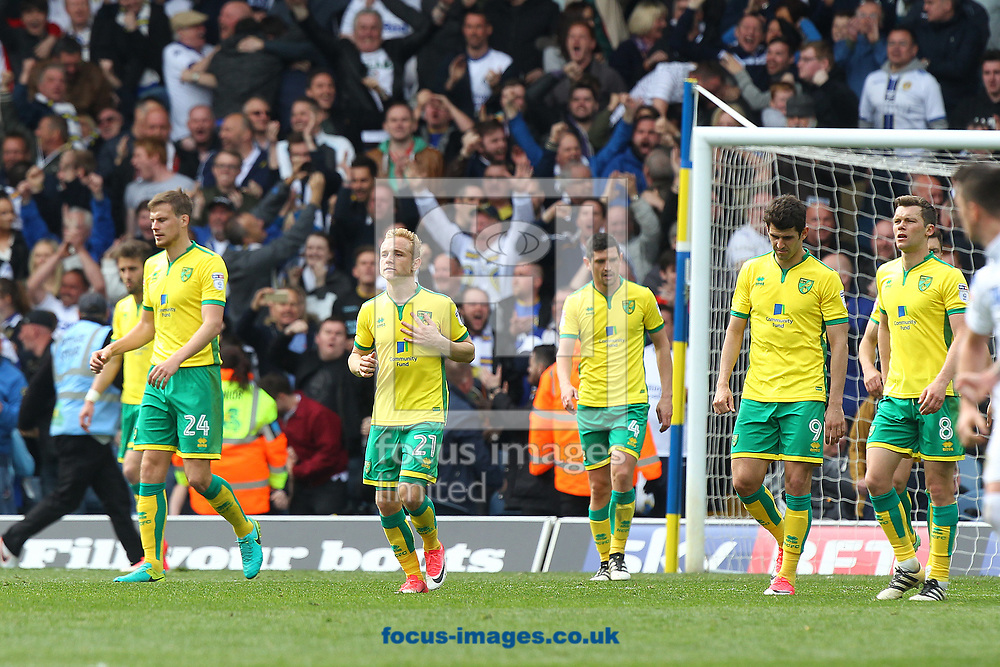 The Norwich players look dejected after conceding their side&rsquo;s 3rd goal during the Sky Bet Championship match at Elland Road, Leeds<br /> Picture by Paul Chesterton/Focus Images Ltd +44 7904 640267<br /> 29/04/2017