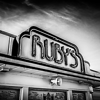 Ruby's Diner Newport Beach black and white picture. Ruby's Diner is a classic 1940's style American diner. Newport Beach is a beach community along the Pacific Ocean in Orange County Southern California.