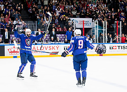 Sacha Treille of France and Damien Fleury of France celebrate during the 2017 IIHF Men's World Championship group B Ice hockey match between National Teams of Finland and France, on May 7, 2017 in Accorhotels Arena in Paris, France. Photo by Vid Ponikvar / Sportida