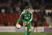 Nottingham Forest goalkeeper Dorus De Vries (1) during the Sky Bet Championship match between Nottingham Forest and Brighton and Hove Albion at the City Ground, Nottingham, England on 11 April 2016.
