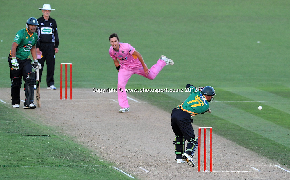 Northland Knight's Tim Boult bowls to Central Stag's Kruger van Wyk in the HRV Twenty20 Cricket match between the Central Stags and Northern Knights at McLean Park, Napier, New Zealand. Saturday 14 January 2012. Photo: Kerry Marshall / photosport.co.nz
