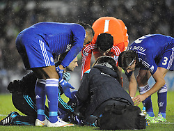 Chelsea Kurt Zouma receives treatment for his punch in the jaw, from Derbys Richard Keogh, Derby County v Chelsea, Capital One Cup Quarter Final, Score Derby 1(Bryson),  Chelsea 3 (Hazard, Luis, Schurrle) Pride Park Tuesday 16th December 2014
