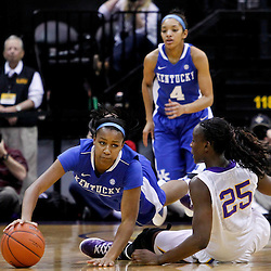 February 5, 2011; Baton Rouge, LA; Kentucky Wildcats guard Maegan Conwright (20) dives for a loose ball past LSU Lady Tigers forward Swayze Black (25) during the first half of a game at the Pete Maravich Assembly Center.  Mandatory Credit: Derick E. Hingle-USA TODAY SPORTS