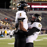 Thomas Wells | Buy at PHOTOS.DJOURNAL.COM<br /> Starkville's Andreus Swanigan gets congratulated by teammate Luke Davis after Swanigan scored his second touchdown of the first half on Friday against Petal.