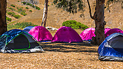 Camping at Scorpion Ranch, Santa Cruz Island, Channel Islands National Park, California USA